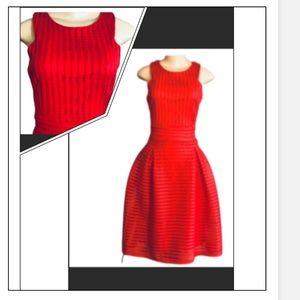 BOOHOO RED MIDI SLEEVELESS EYELET  SUN DRESS